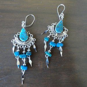 3/$20 Silver Blue Dangly Earrings Vintage Gypsy